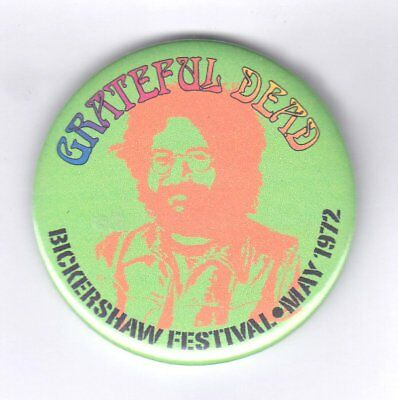 Grateful Dead Bickershaw Festival 1972 rare official festival badge 55 mm