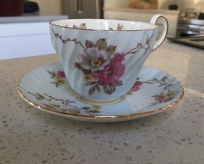 Foley Teacup And Saucer Blue Wild Roses