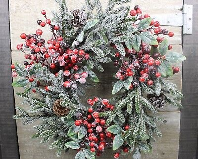 GISELA GRAHAM CHRISTMAS FROSTED RED BERRIES FIR CONES WREATH d:44cm