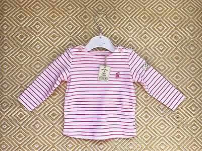 Joules  0-3 Months Baby Girls Pink And White Striped Long Sleeved Top BNWT