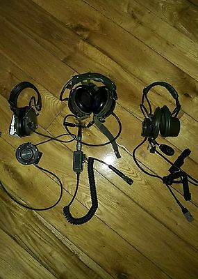 irish defence forces comm set , 3 separate head sets !!
