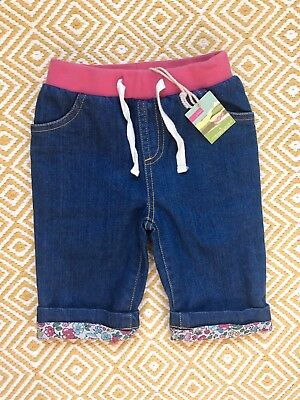 Joules Baby Girls 3-6 Months Jeans with Floral turn Ups And Inside BNWT