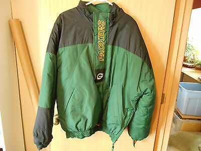 Green Bay Packer Starter Pull Over Insulated  Jacket 1/3 Zipper Size Xl W/ Hood
