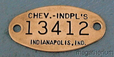 Vintage CHEVROLET CAR Brass Property Tag: INDIANAPOLIS INDIANA