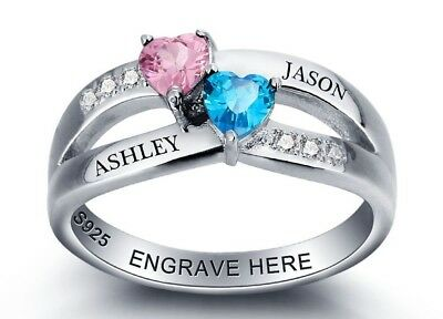 Personalized Sterling Silver 2 Hearts Birthstone Classic Custom Engraved Ring