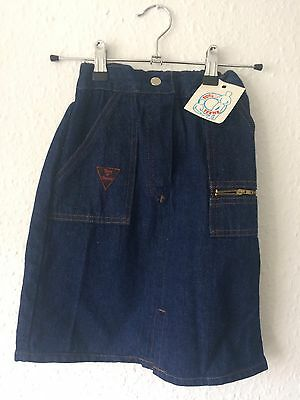 NOS Deadstock Vintage Kids Cotton Navy Denim 70s 80s Midi Skirt 5 6 7 8 Y