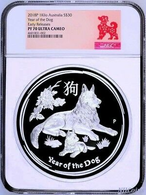 2018 Australia Lunar Year of the DOG 1 Kilo PROOF Silver $30 Coin NGC PF 70