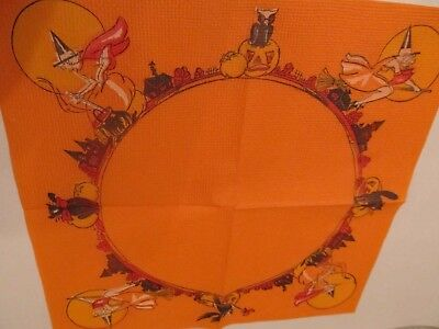 Vintage Halloween Paper Napkin Beach & Arthur Witches, Black Cats Owls