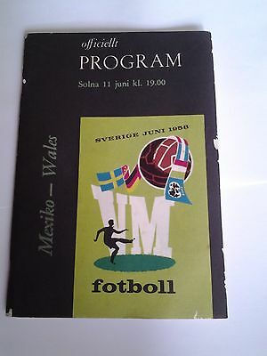 1958 World Cup Finals Programme Mexico v Wales, 11 June