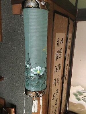 Japanese long CHOCHIN, paper shade with wooden frames - 18cm dia.