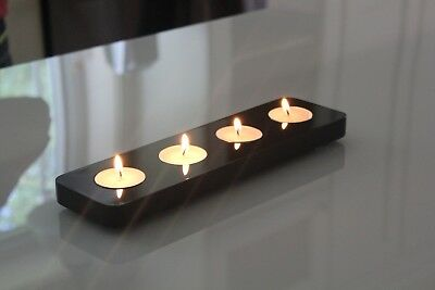 Tealight Candle Holder Centerpiece | Piano Black | High Gloss Finish