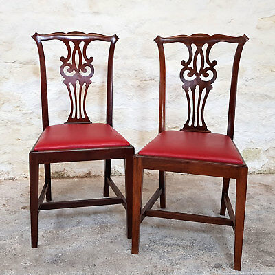 Chippendale Revival Pair of Mahogany Dining Chairs C1910 (Edwardian Antique)