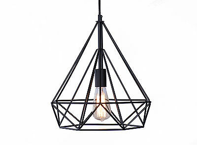 Vintage Industrial Style Wrought Iron Diamond Pendant Light