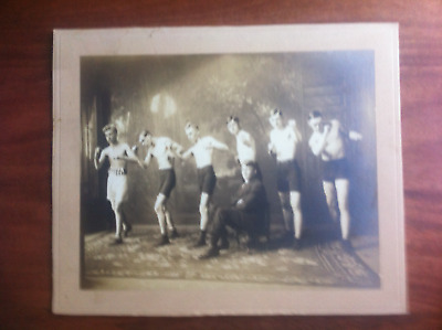 Original Large Gus Ruhlin Mounted Boxing Photo 10 1/2in X8 3/4in and Stable!