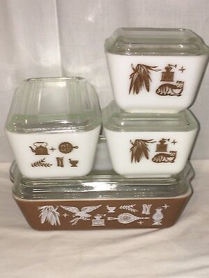 Pyrex *EARLY AMERICAN* *8 PC REFRIGERATOR SET*