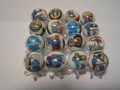 PABST BLUE RIBBON BEER COLLECTION LOT 5/8 size glass marbles + stands
