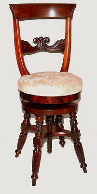 "Piano stool, vanity bench, Federal Neoclassical, NYC Phyfe, mahogany, 35"", c1820"