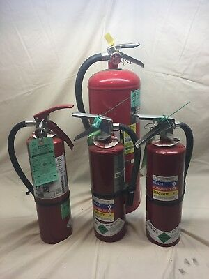 Set of 4 FIRE EXTINGUISHERs 3 -5lb and 1-20lb full abc exstinguishers . buckeye
