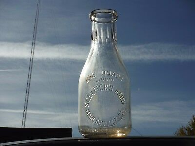 Vintage 1 Quart Schaffer's Dairy Manchester Michigan Embossed Milk Bottle  Rare