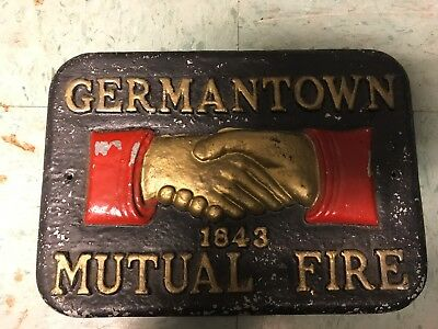 Germantown Mutual Fire Insurance Company Cast Metal Marker PLAQUE Colored