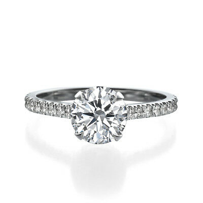 GIA Certified 2.01 ct Round Cut Diamond Engagement Ring 18K White Gold