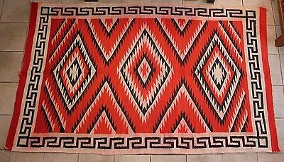 "Large 93"" x 55"" Antique Early 1900s Native American Navajo Rug Lightning Design"