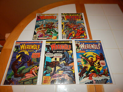 """HORROR Bronze Age Comic Lot Of 5 """"Werewolf By Night"""" #'s 18 VG,29,38,39,42 FN Cd"""