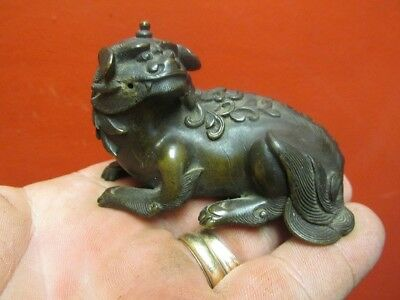 Chinese Ming Dynasty Bronze Water Dropper FOO DOG LION ESTATE PIECE 3' IN. NR