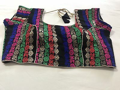 New Readymade Multi Color Cotton Silk Saree Blouse Back Open Size 38