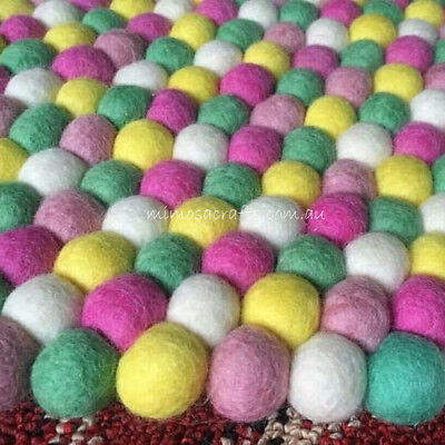 Felt Ball Rug -  5 Colour Nursery Felt Wool Rugs Mat - Pom Pom Rug Made to Order