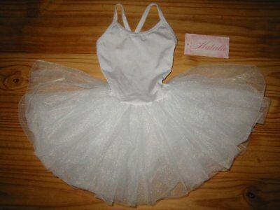 Natalie Girls White Dance Leotard with Tulle Tutu Attached, Sz  T, NWT