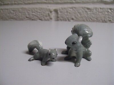 Vintage Gray Squirrel Hagen Renaker Miniature Fall Mom Baby Figurines