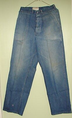 Wwii? Era Usn Navy Button Fly Denim Dungarees Pants Trousers Jeans