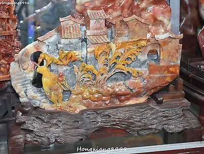 "13"" Rare China Shoushan Stone Carving Belle Girl Beauty House Shanzi Hill Statue"