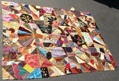 ID'ed 1885 Piedmont SC Carolina Crazy Quilt Top- Great Embroidery & Stitching!