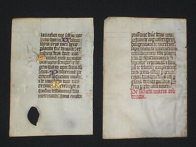 TWO Rare Medieval Manuscript Vellum Book of Hours Leaves, ENGLAND, c.1450