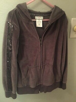 girls piper brand gray velour hooded jacket size med 7/8 sequin striped arms