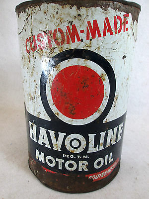 Vintage Havoline Texas Co. Texaco empty metal five quart motor oil can