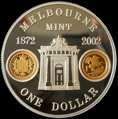 2002, 1oz.Silver Proof coin 'Melbourne Mint' with 2 GOLD cameo's,C.of A., & Case