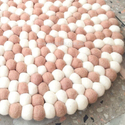 Felt Ball Rug -  2 Colour Nursery Felt Wool Rugs Mat - Pom Pom Rug Made to Order