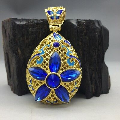 China's Tibet silver inlay cloisonne and handmade gemstone pendant.