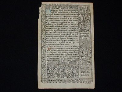 Printed Medieval Book of Hours Leaf w/ Mary, Jesus, Demonic Dragon Woodcut, 1510