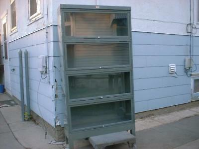 The General Fire Proofing Metal Lawyers Bookcase Grey Base +4 Glass Door Shelves
