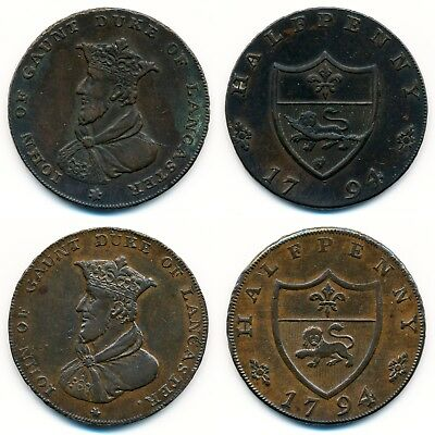 Great Britain, Lancaster John of Gaunt 1/2 Penny 1794. 2 Tokens Lot. D&H 46 + 43
