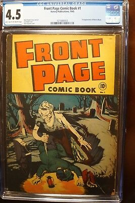 Front Page Comic #1 (Harvey 1945) Rare! Cgc 4.5! First Horror Comic Book Cover!