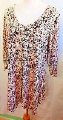 Rose Olive Women Plus Size 1x Asym Pink Black Ivory Tunic Top