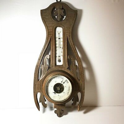 Antique Art Nouveau Barometer / Thermometer Weather Station : Wooden