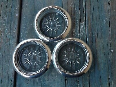 Leonard Set Of 3 Silver Plate Coasters, Glass Insert Starburst Pattern, Italy