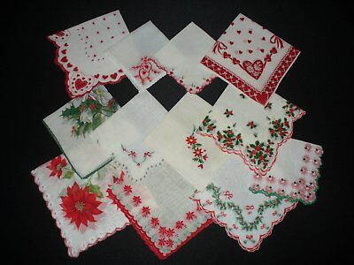 Lot of 12 Vintage Cutter Holiday Hankies Handkerchiefs Christmas Valentines Day