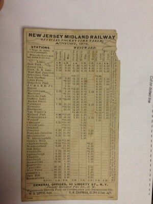 1874 Original New Jersey Midland Railway Railroad Official Pocket Time Schedule